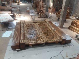 proses finishing Pintu Jati Ukir motif Afrika II