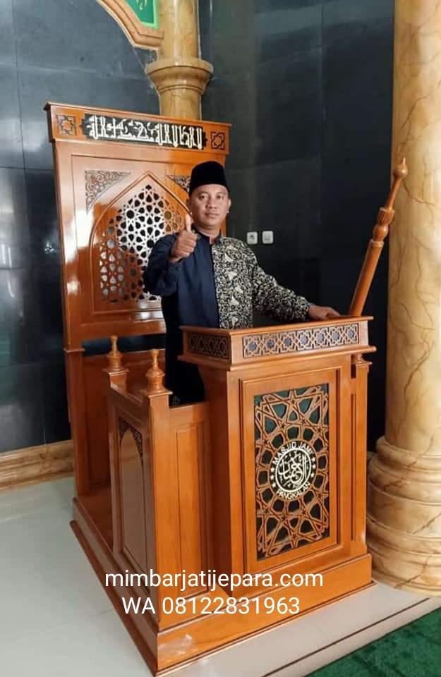 Mimbar Jati Desain Minimalis sampai di Masjid Al Ikhsan di Cirebon